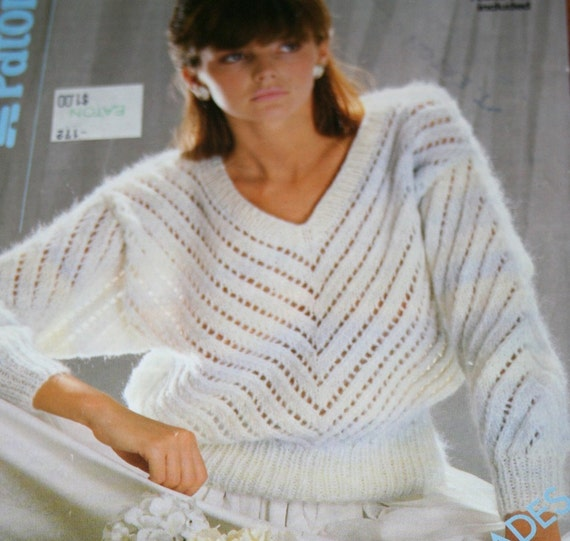 Knitting Pattern Sweater Dolman Sleeve Lace Vintage by ...