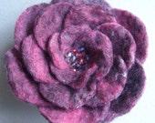 Handmade felt flower brooch with beaded centre