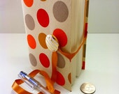 Retro dots Journal, fabric notebook bound with lined paper, brown beige orange circles, white gold stripes button and golden ribbon, Boho