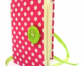 Pink Journal notebook, journal diary,hand bound with lined paper, for writing, pink green, Girly journal, handmade books