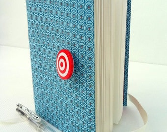 Blue circles Journal, Fabric notebook with lined paper, opens with white ribbon and red target button, Boho style 2013