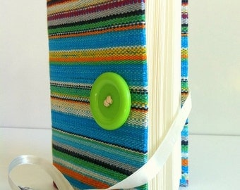 Lined writing Journal, Blue fabric notebook opens with apple green button and White ribbon, personal diary, travel journal