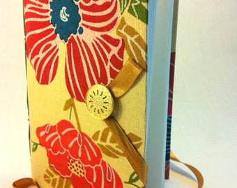 lined Journal, personal journal, notebook, for writing, yellow, journal diary, red flowers, memories book, journals for women