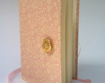 Personal writing Journal notebook Pink diary with lined paper, Handmade Flowers journal diary, opens with pink ribbon and gold button