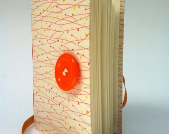 Personal Journal, journal notebook, diary, hand bound with lined paper, White Orange, handmade books, custom journal, journal diary