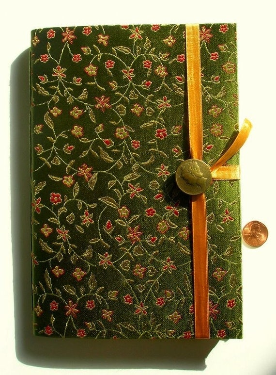 Writing journal, Fabric journal, notebook, personal journal, lined paper, for writing, gold red, green journal, travel journal, art journal