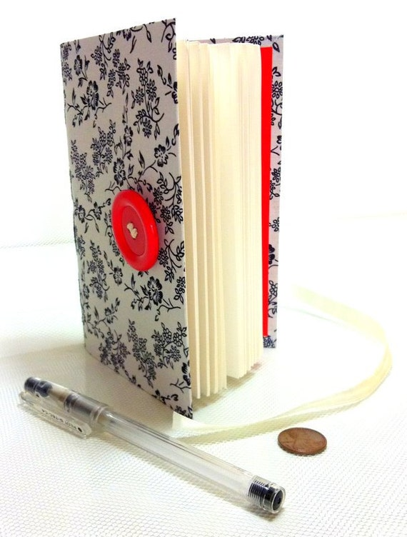 Travel Journal, Notebook, Diary, lined paper, white fabric cover, printed with black flowers, white red, handmade books