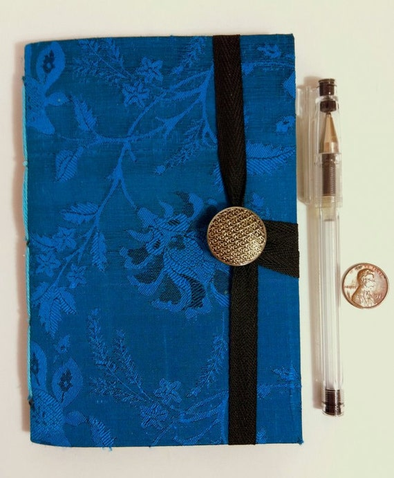 Personal journal, journal notebook, hand bound, lined paper, Silk notebook, Turquoise, handmade books, memories book