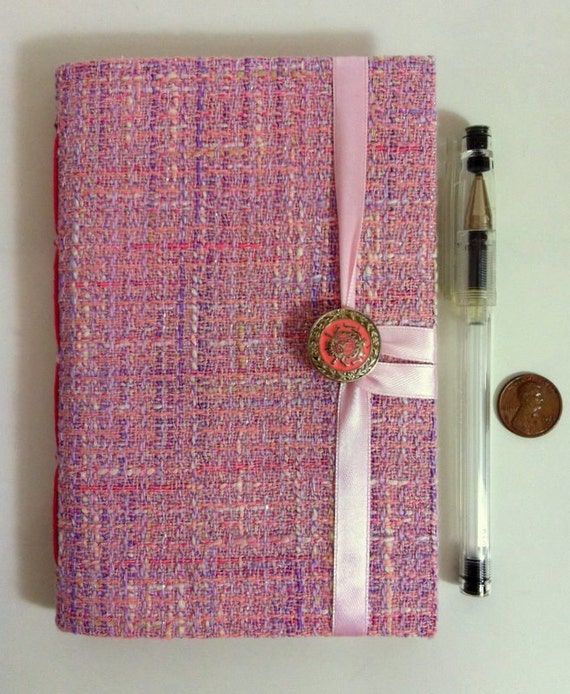 Pink Journal Diary Notebook, Lined journal, lined paper for writing, Tweed fabric notebook, travel journal, memory book