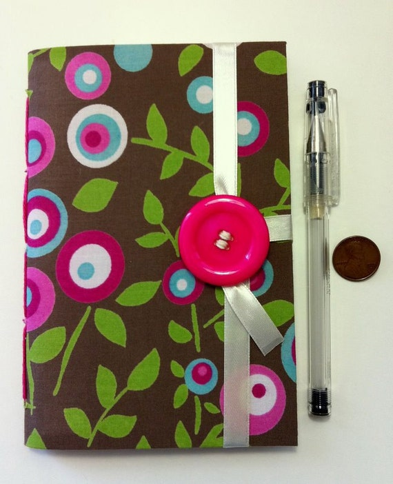 Handmade journal, Journal Notebook, Diary hand bound lined paper for writing, memory book, fabric notebook, pink brown, blank book