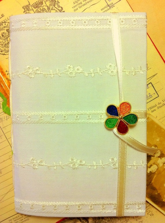 Journal notebook, journal diary, lined paper, Blank book for writing, memories, personal journal, white journal, handmade books, flower