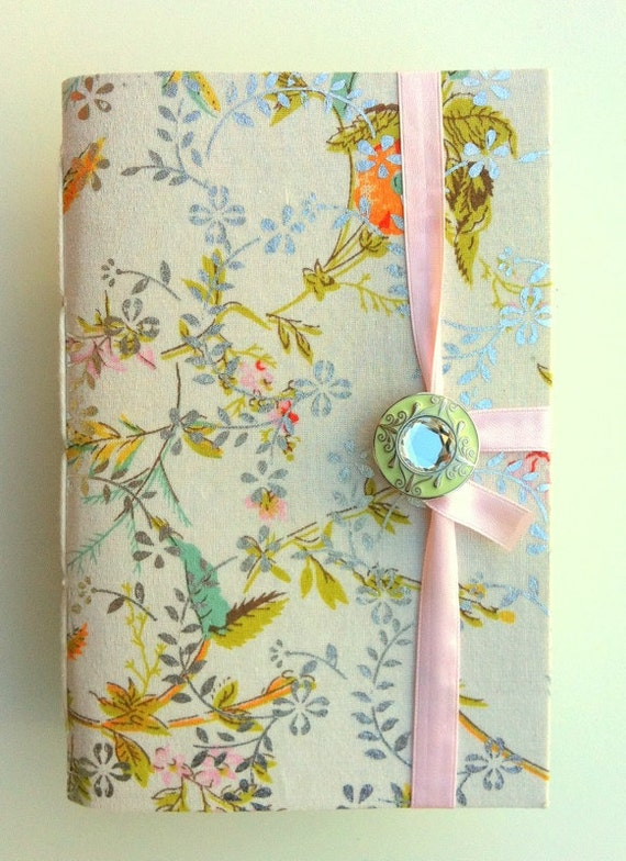 Handmade journal / notebook made with floral colorful & silver fabric opens with crystal embedded green enamel button and pink satin ribbon