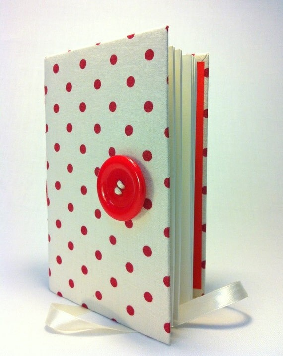 Red white journal, Polka-dots Notebook with lined paper Opens with a big red plastic button and white ribbon, personal book