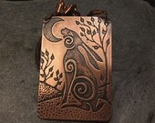 Moon Gazing Hare/Rabbit & Trees - Large Handmade  Etched Copper Pendant necklace