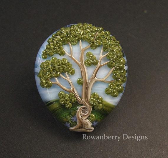 Oak Tree  - Handmade Lampwork Glass Focal Bead - Rowanberry SRA - (TR-4)