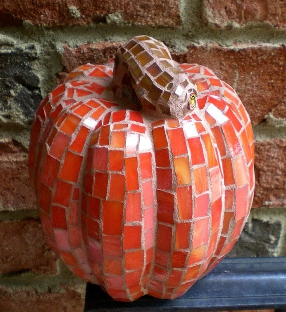 Lovely 3-D Stained Glass Mosaic Pumpkin
