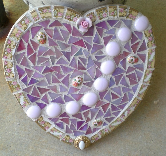 Valentine Mosaic Heart Shaped Wall Art Pink Glass with Pretty Vintage China Pieces