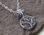 Blue Bell Necklace - Antique Mold, Fine Silver, Iolite
