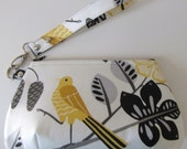Bird Talk Yellow, Black, and White Clutch Wristlet with Zipper Closure