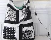 Long Strap Crossbody Sling Bag in Blocked Black and White Print