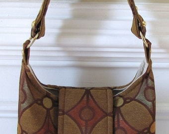 Bronze and Rust Circle and Diamond Print Hobo Bag with Flap and Turn Lock Closure