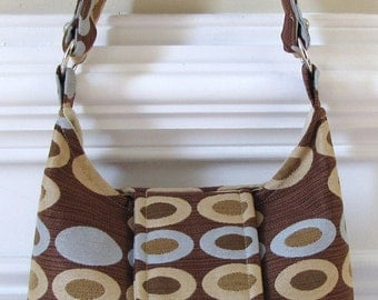 Brown, Oval, Circle Print Hobo Bag with Flap and Turn Lock Closure