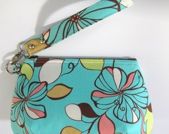 Aqua Blue and Brown Floral Clutch Wristlet with Zipper Closure