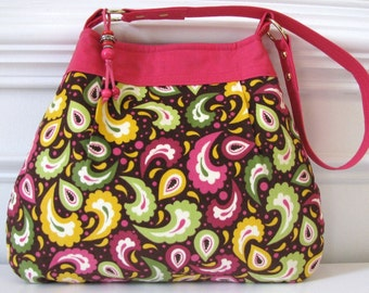 Purse, Shoulder Bag, Pink And Plum Paisley, w/ Bead And Pleat Detail