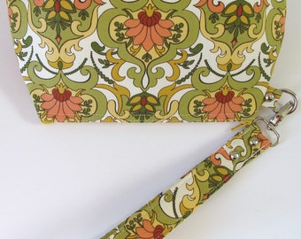 Ivory and Olive Green Foral Clutch Wristlet with Zipper Closure