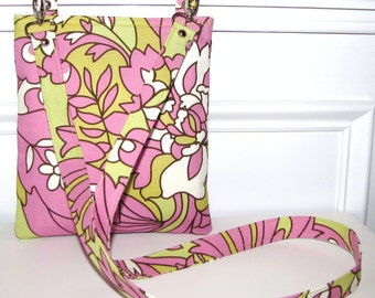 Pink and Lime Floral Long Strap Zippered Crossbody Bag