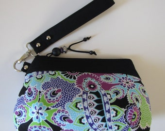 Zipper Wristlet/Clutch in Cotton Black Paisley and Floral Fabric with Bead Accent