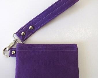 Purple Square Wristlet Zipper Pouch