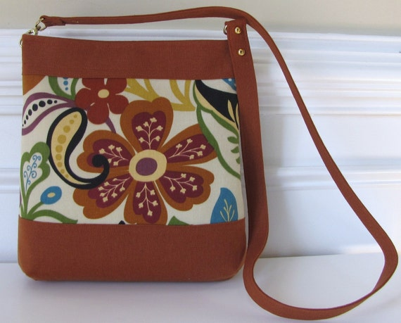 Rust and Cream Bold Floral Long Strap Crossbody Bag