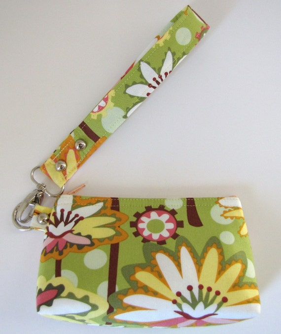 Zipper Pouch, Wristlet, Flat Bottom, In Lily Pond Lime Green And Yellow Floral Retro Fabric