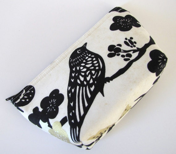 Black Bird and Floral Flat Bottom Zippered Pouch