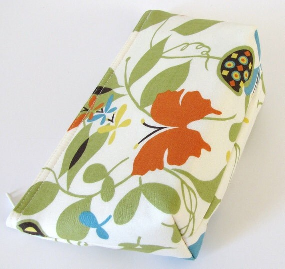 Lime Green and Cream Butterfly and Floral Flat Bottom Zippered Pouch