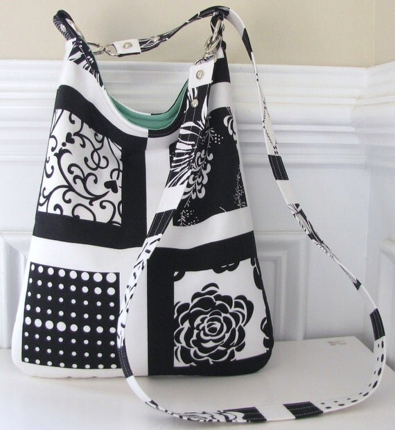 Long Strap Crossbody Sling Bag in Blocked Black and White Print
