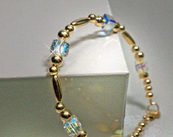 14KT Gold Filled Beaded Bracelet with Swarovski Cubes