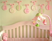 Children Kids Baby Wood Round HANGING WALL LETTERS Nursery Decor