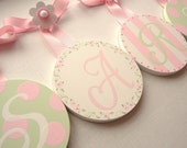 NEW  Handpainted Round Kids Baby Nursery Hanging WALL LETTERS
