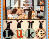 Kids Baby Nursery Boy Round Hanging Wall Letters to match Glenna Jean Detour Bedding