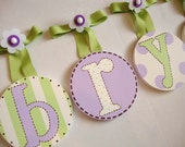 Hand Painted  Childrens Baby Nursery  Round HANGING WALL LETTERS