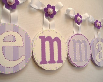 Kids Baby Round Nursery hanging WALL LETTERS