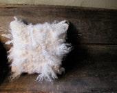 Handmade shaggy curly wool felt pillow