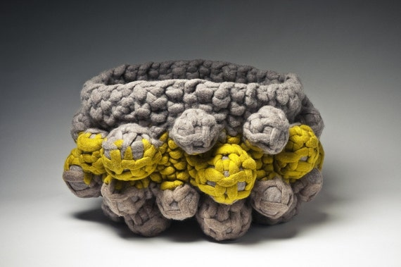 Knit felt anthropod vessel sculpture