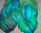 handspun, hand-dyed yarn, thick and thin singles in great greens