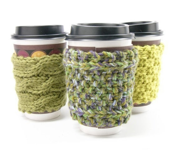 Set of 3 Super Hip Knitted Coffee Sleeves...Save 4 bucks