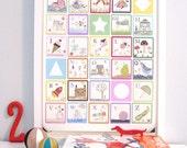 Alphabet Block Print Poster 11x14 Art for Kids