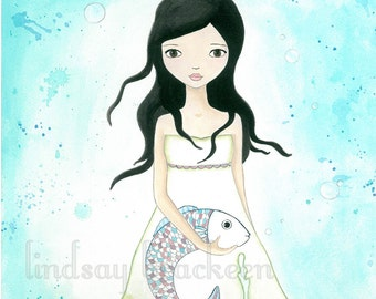 Fish Ocean Mermaid Pisces Art Print