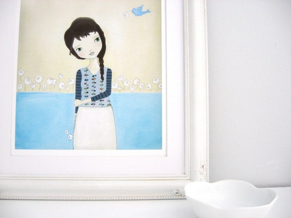 Blue Bird Flower Girl Art Print